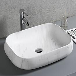 Pesuallas Lyfco, 565x425x145mm, ei hananreikää, marmorikuvio, valkoinen