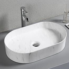 Pesuallas Lyfco, 610x385x125mm, ei hananreikää, marmorikuvio, valkoinen