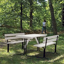 Piknik-pöytäryhmä valkoinen