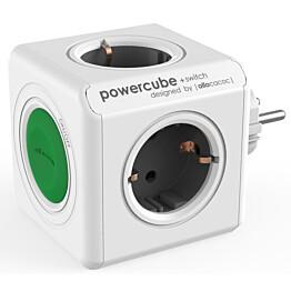 Pistorasia Allocacoc PowerCube Original + Switch 4-osainen + katkaisija vihreä/valkoinen