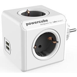 Pistorasia Allocacoc PowerCube Original USB 4-osainen + 2 x USB harmaa/valkoinen