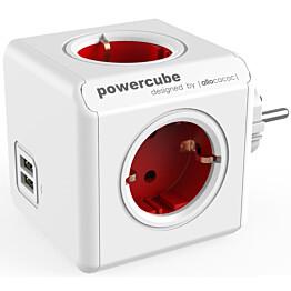 Pistorasia Allocacoc PowerCube Original USB 4-osainen + 2 x USB punainen/valkoinen