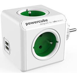 Pistorasia Allocacoc PowerCube Original USB 4-osainen + 2 x USB vihreä/valkoinen