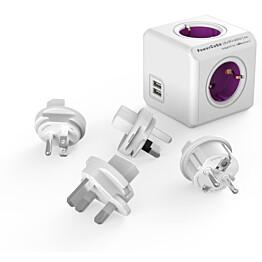 Pistorasia Allocacoc PowerCube Rewirable 4-osainen + 2 x USB lila/valkoinen