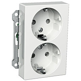 Pistorasia 2S/16A/250V/IP20 UKJ 2X valkoinen Exxact 2530141