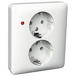 Pistorasia 2S/16A/250VIP21 UPJ 2X LED valkoinen Exxact 2530013