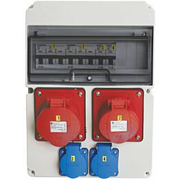 Pistorasiakeskus Malmbergs Standard 1kpl 3X32A PR + 1kpl 3X16A PR + 2kpl schuko 32A IP44