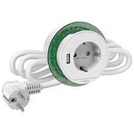Pistorasiayksikkö XS Schuko+USB-A Schneider Electric Unica System+, valkoinen