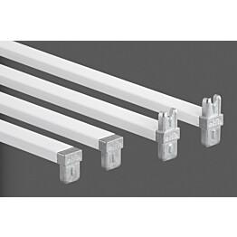 Valkoinen poikkituki 45 määrittelee telineen leveydeksi 45 cm
