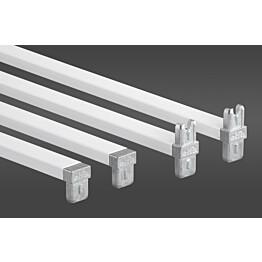 Valkoinen poikkituki 55 määrittelee telineen leveydeksi 55 cm