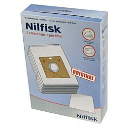 Pölypussit Nilfisk Coupé Neo pölynimureille 5 kpl + moottorin suodatin