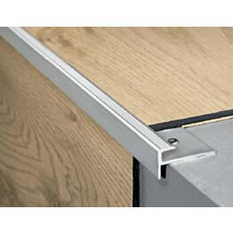 Porrasaskelmalista 15x22x2000 mm hopea napsautettavalle vinyylille on kätevä tarvike portaiden viimeistelyyn