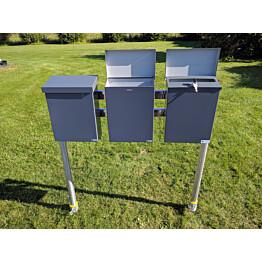Postilaatikkoteline PP-Tuote Pate 3-laatikkoa perusosa