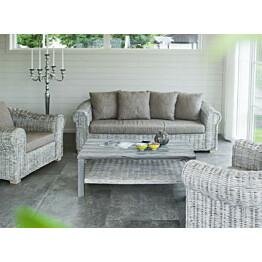Pöytä Hillerstorp Leicester/Shabby Chic, 66,5x111cm, valkoinen/harmaa