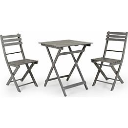 Pöytäryhmä Bruton taitettava pöytä + 2 tuolia harmaa