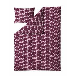 Pussilakanasetti Finlayson Elefantti 150x210 + 50x60 cm viininpunainen/roosa