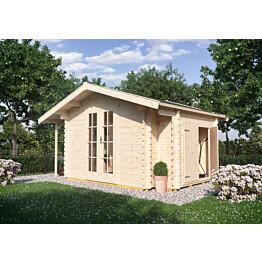 Puutarhavaja Skan Holz Multi 45 vahvuus 45 mm 300x280 cm (11,76 m²) + sivuvarasto ja sivukatos