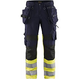 Riipputaskuhousut Blåkläder X1900 Highvis 1994, mariininsininen/huomio keltainen