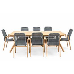 Ruokailuryhmä 4Living 8 tuolia puu/harmaa