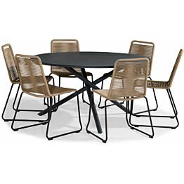 Ruokailuryhmä Alex, Ø140cm, 6 tuolia, musta/beige