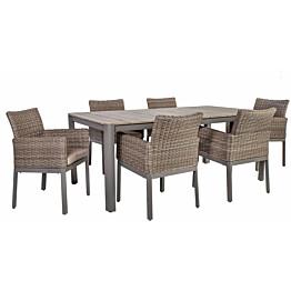 Ruokailuryhmä Home4you Admiral 202x100cm 6 tuolia tyynyillä polyrottinki hiekka/harmaa