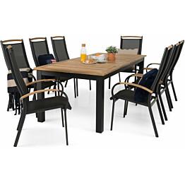 Ruokailuryhmä Las Vegas, 220/280cm, 8 pinottavaa tuolia, tiikki/musta