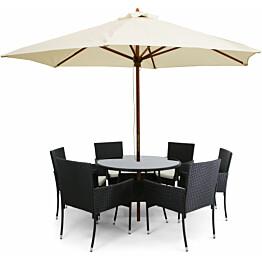 Ruokailuryhmä Lyfco, Ø110cm, aurinkovarjo, 6 nojatuolia tyynyillä, polyrottinki