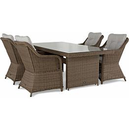 Ruokailuryhmä Marcus 200 cm pöytä 4 nojatuolia ruskea