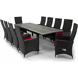 Ruokailuryhmä Monaco-Jenny 220-280 cm jatkettava pöytä 10 säädettävää tuolia musta-harmaa