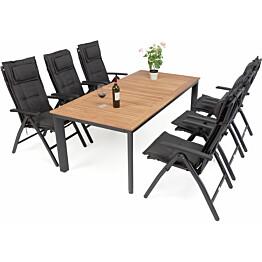 Ruokailuryhmä Solna, 96x150-200cm, 6 mustaa säätötuolia, tiikki/musta pöytä