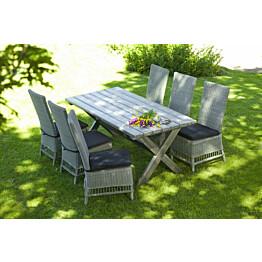 Ruokailuryhmä Ashford, 86x165cm, 6 tuolia pehmusteilla, harmaa/musta