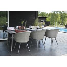 Ruokailuryhmä Ely, 90x220cm, 6 tuolia pehmusteilla, harmaa/musta