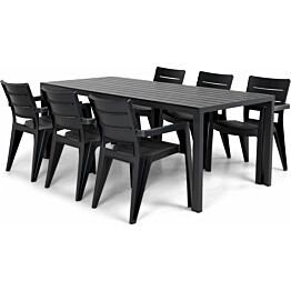 Ruokailuryhmä Lassi 205 cm 6 tuolia musta/harmaa