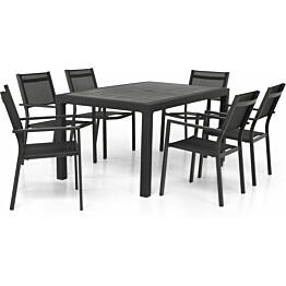 Ruokailuryhmä Saga 160 cm 6 pinottavaa tuolia harmaa/musta