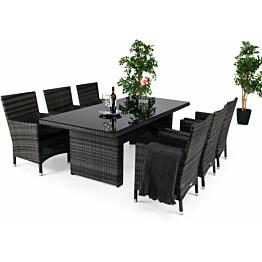 Ruokailuryhmä Tähtelä 6 Somero tuolilla 100x210 cm harmaa