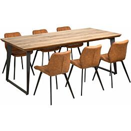 Ruokailuryhmä Tenstar Bono-pöytä + 6kpl Marcus-tuoleja