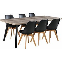 Ruokailuryhmä Tenstar Chicago 200 -pöytä + 6kpl Texas-tuoleja