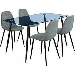 Ruokailuryhmä Tenstar Koo-ruokapöytä + 4kpl harmaita Koo-tuoleja