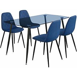 Ruokailuryhmä Tenstar Koo-ruokapöytä + 4kpl sinisiä Koo-tuoleja