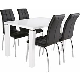 Ruokailuryhmä Tenstar Metro 120 -ruokapöytä + 4kpl mustia Krista-tuoleja