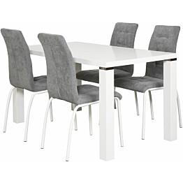 Ruokailuryhmä Tenstar Metro 140 -ruokapöytä + 4kpl harmaita Krista-tuoleja