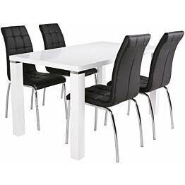 Ruokailuryhmä Tenstar Metro 140 -ruokapöytä + 4kpl mustia Krista-tuoleja