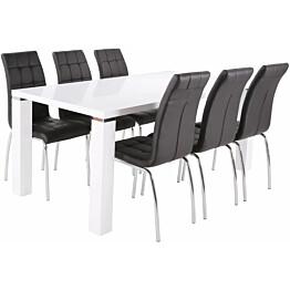 Ruokailuryhmä Tenstar Metro 180 -ruokapöytä + 6kpl mustia Krista-tuoleja