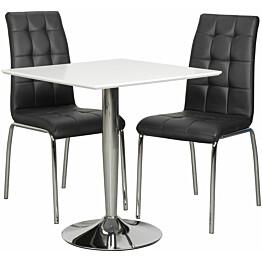 Ruokailuryhmä Tenstar Rafla-ruokapöytä + 2kpl mustia Krista-tuoleja