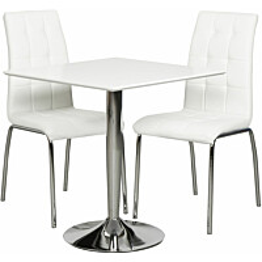 Ruokailuryhmä Tenstar Rafla-ruokapöytä + 2kpl valkoisia Krista-tuoleja