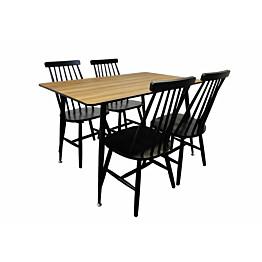 Ruokailuryhmä Tenstar ruskea Mexico-ruokapöytä + 4kpl mustia Sophia-tuoleja