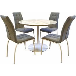 Ruokailuryhmä Tenstar Snow-ruokapöytä + 4kpl harmaita Krista-tuoleja