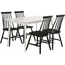 Ruokailuryhmä Tenstar Sophia 125 -ruokapöytä + 4 kpl mustia Sophia-tuoleja
