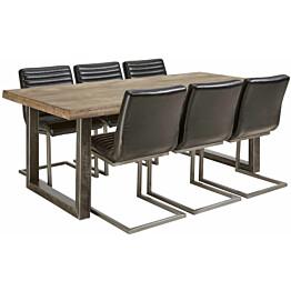 Ruokailuryhmä Tenstar Vigo-ruokapöytä + 6kpl mustia Bernilla-tuoleja