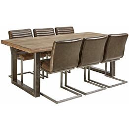 Ruokailuryhmä Tenstar Vigo-ruokapöytä + 6kpl ruskeita Bernilla-tuoleja